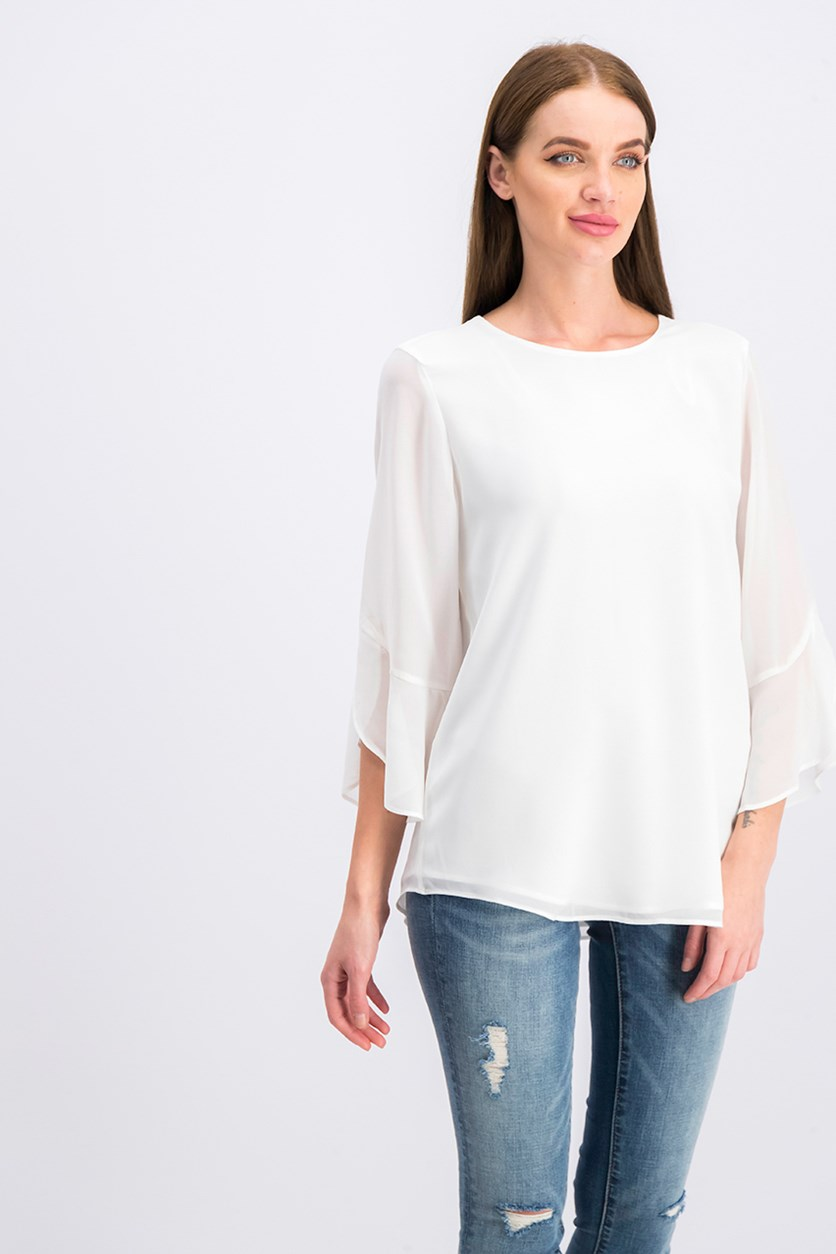 Women's Three Quarter Sleeve Blouse, White