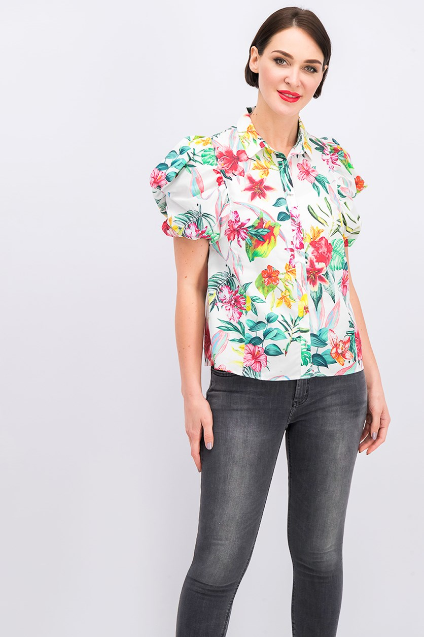 Women's Floral Print Top, White Combo