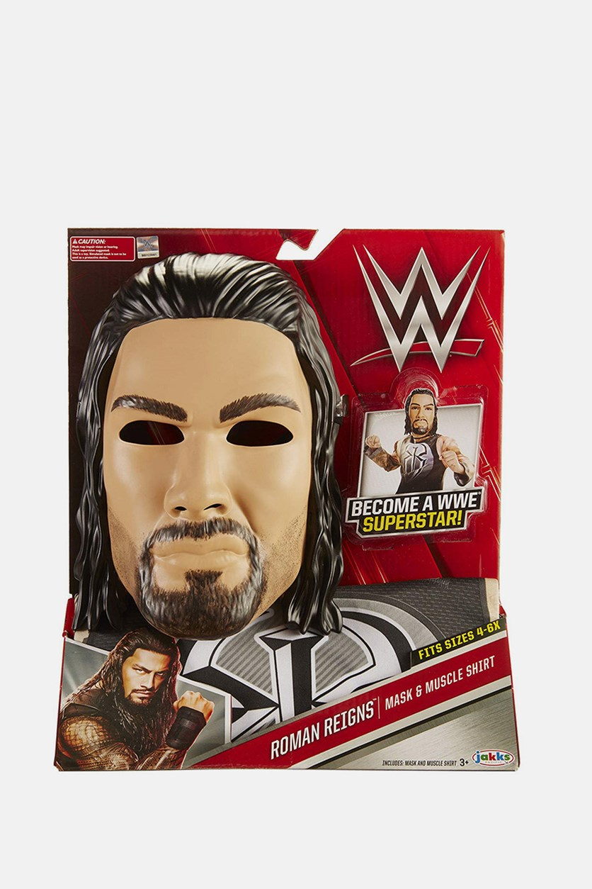 WWE Wrestling Roman Reigns Mask & Muscle Shirt, Tan/Black