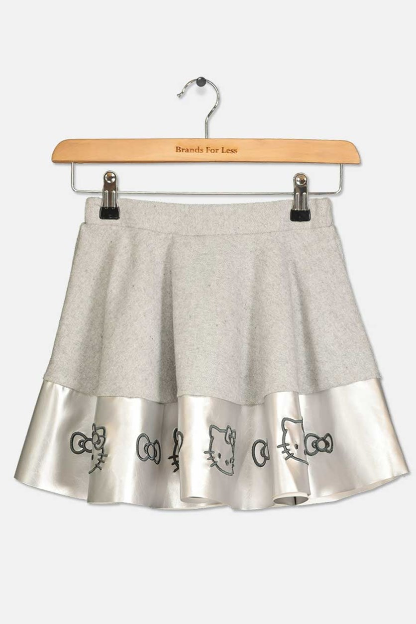 Little Girls Embroidered Skirt, Heather Grey