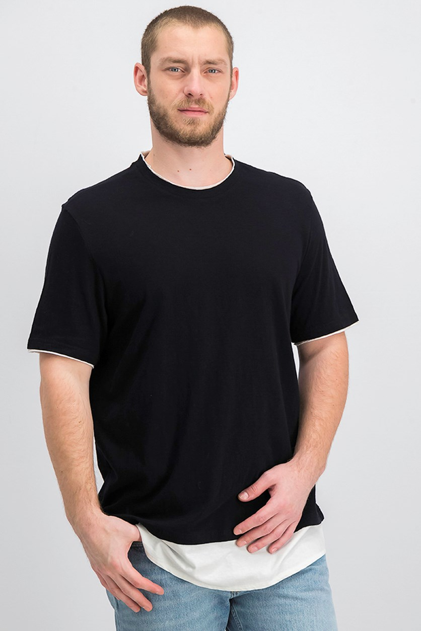 Men's Textured Colorblocked Layered-Look T-Shirt, Black