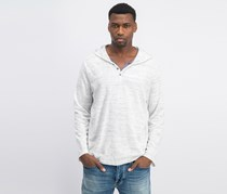I.n.c. Men's Knit V-Neck Hooded Shirt, White/Gray