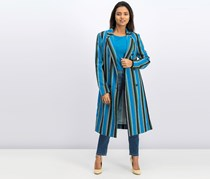 INC Womens Striped Long Jacket, Shiny Stripe