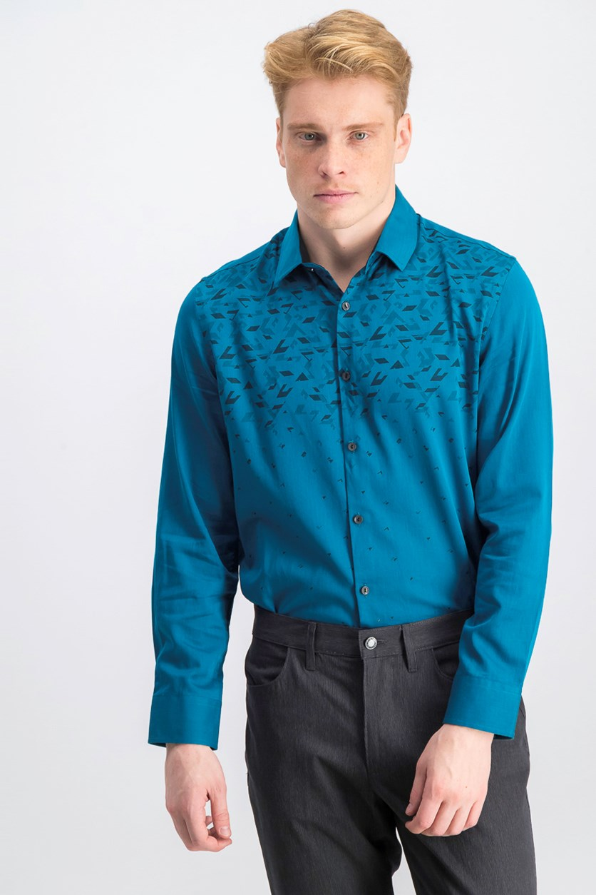 Men's Long Sleeve Casual Shirt, Teal Combo