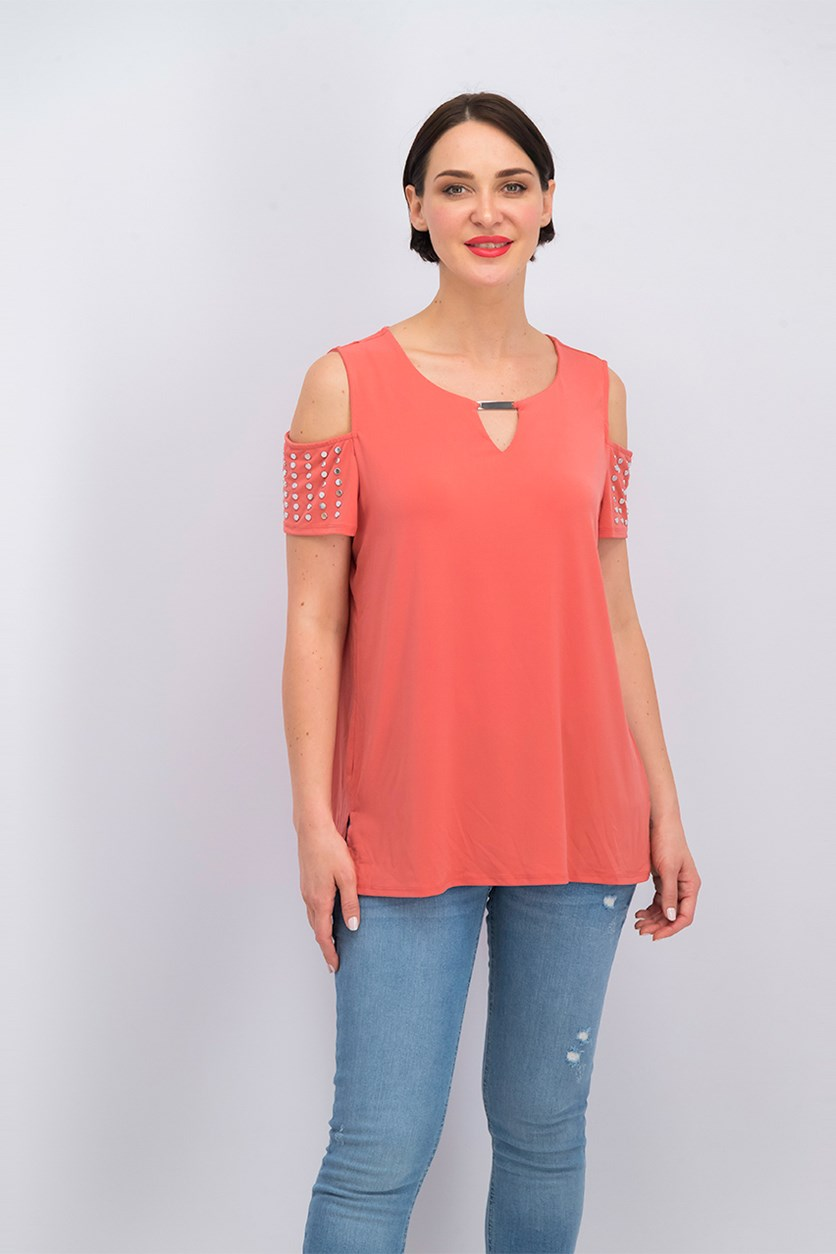 Women's Embellished Cold-Shoulder Blouse, Dusty Coral
