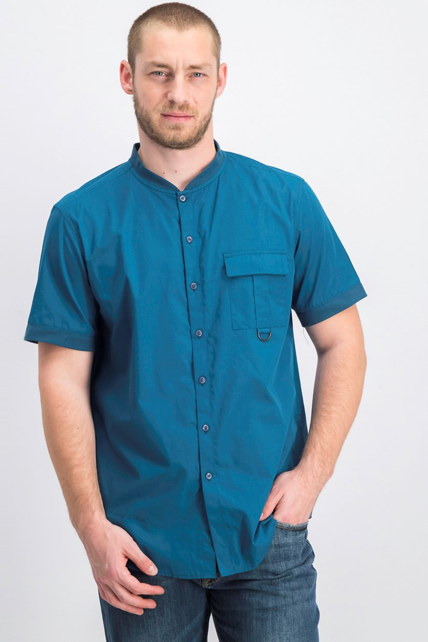Men's Banded Collar Button Up Shirt, Teal