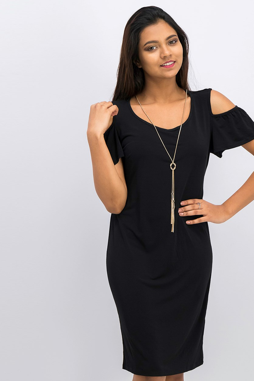 Women's Cold Shoulder Detachable Necklace Dress, Black