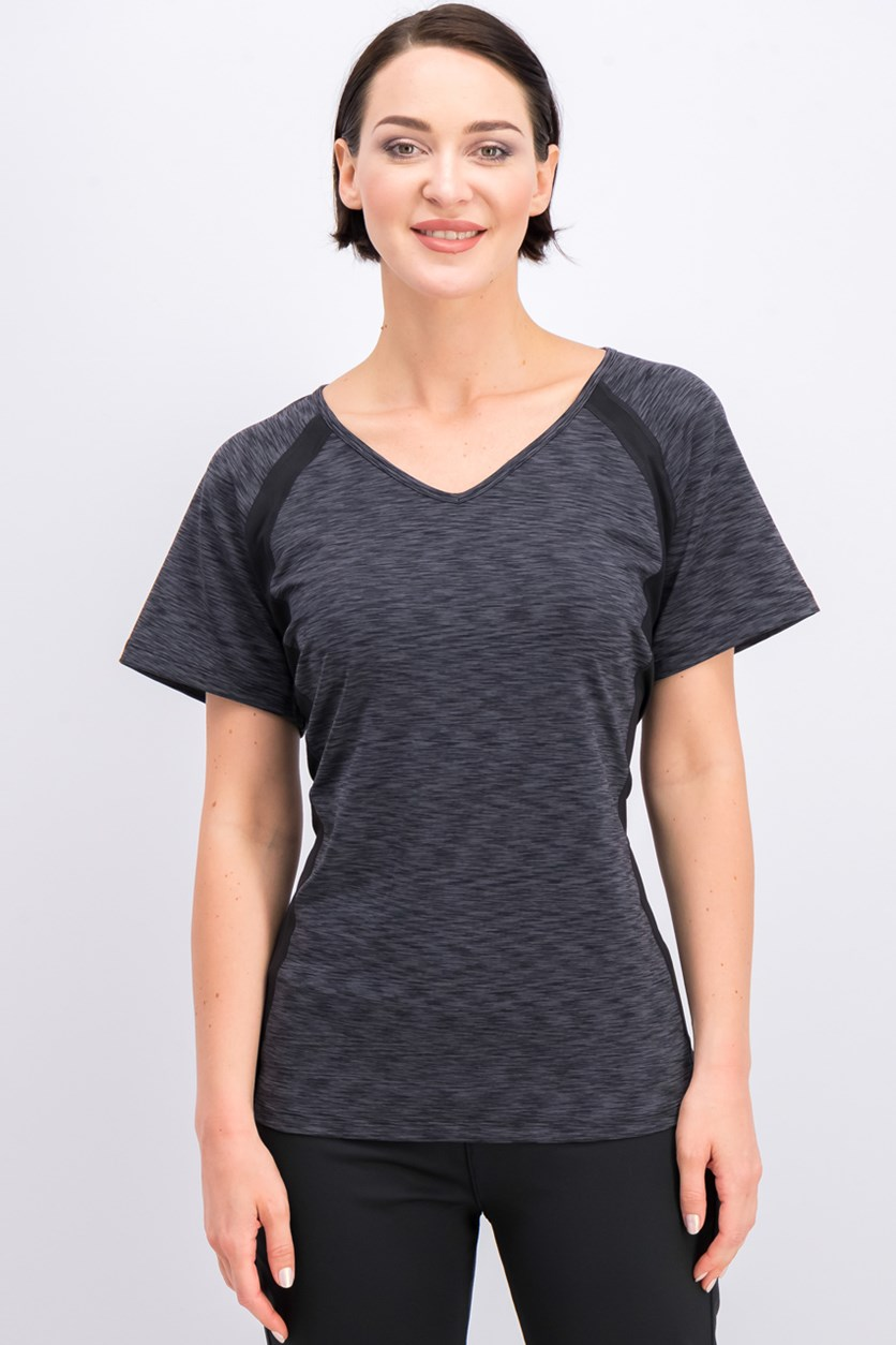 Women's Plus Size Space-Dyed Performance Top, Black