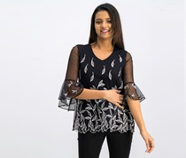 Petite Embroidered Mesh Top, Black