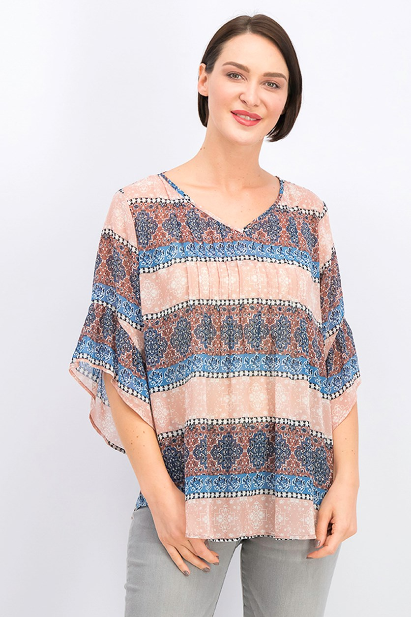 Medallion Print Pintuck Top, Brown Combo