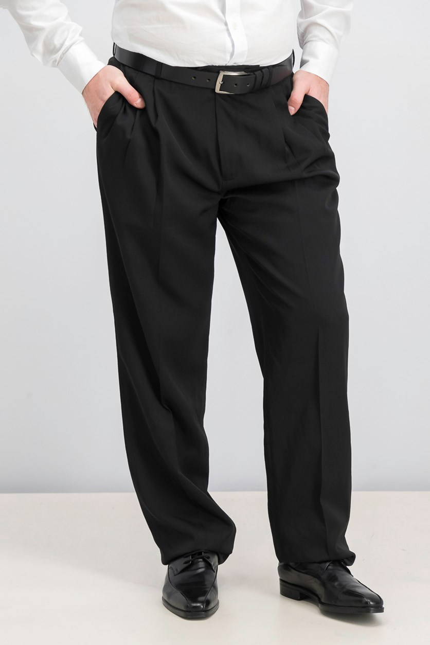 Men's Classic Fit Double Pleat Dress Pant, Black