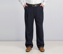 Perry Ellis Classic Fit Double Pleat Melange Pants, Twilight