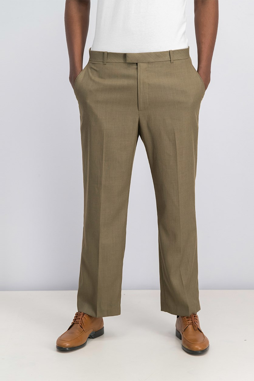 Men's Portfolio Classic-Fit Flat-Front Sharkskin Pant, Rock Taupe