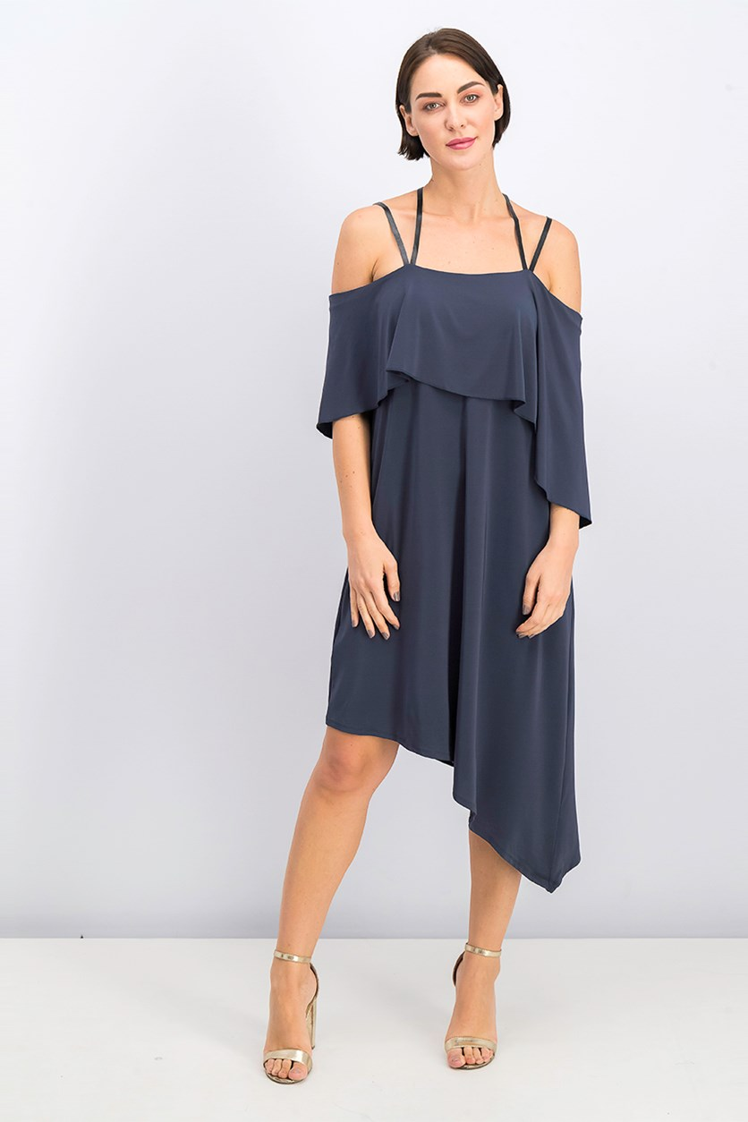 Karlyn Asymmetrical Dress, Deep Ocean