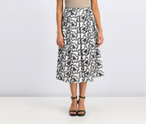 Bcbgmaxazria Floral Embroidered A-Line Skirt, White/Black