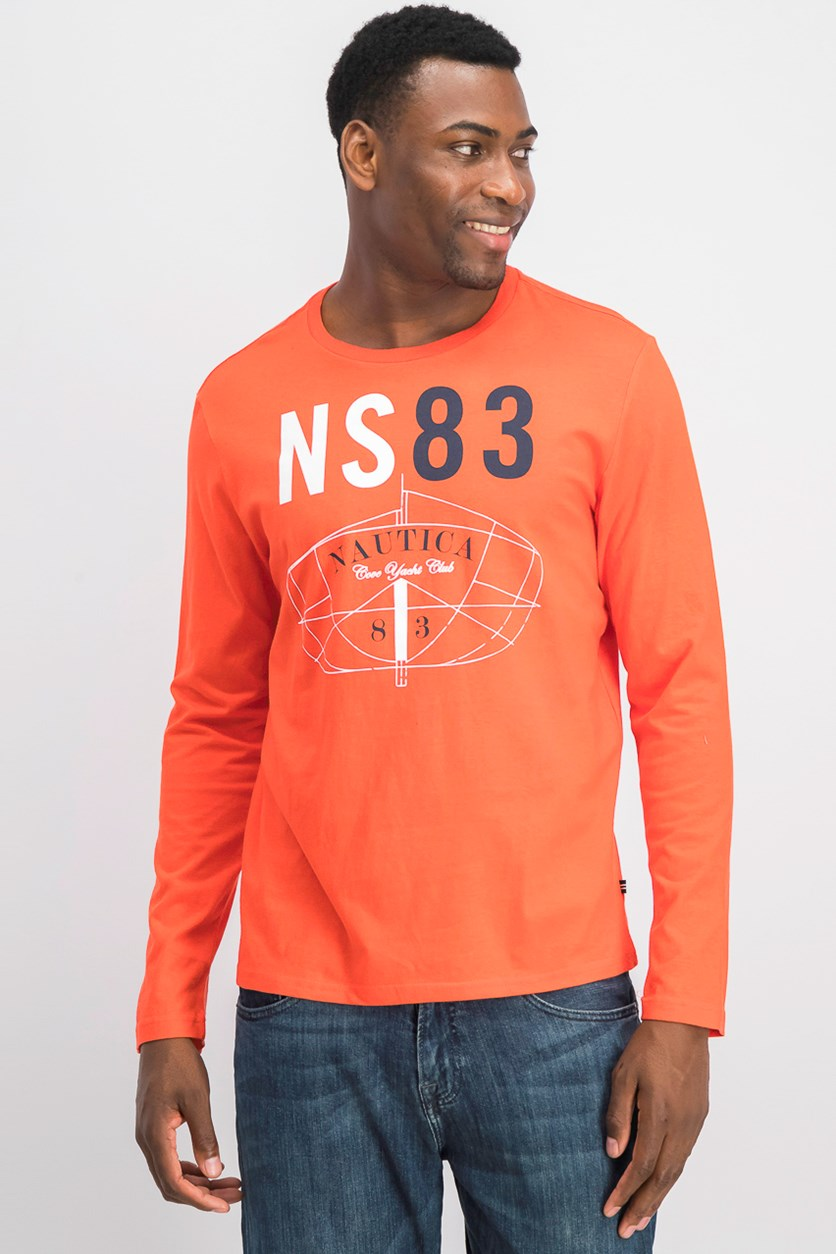 Men's Long-Sleeve Graphic T-Shirt, Orange Poppy