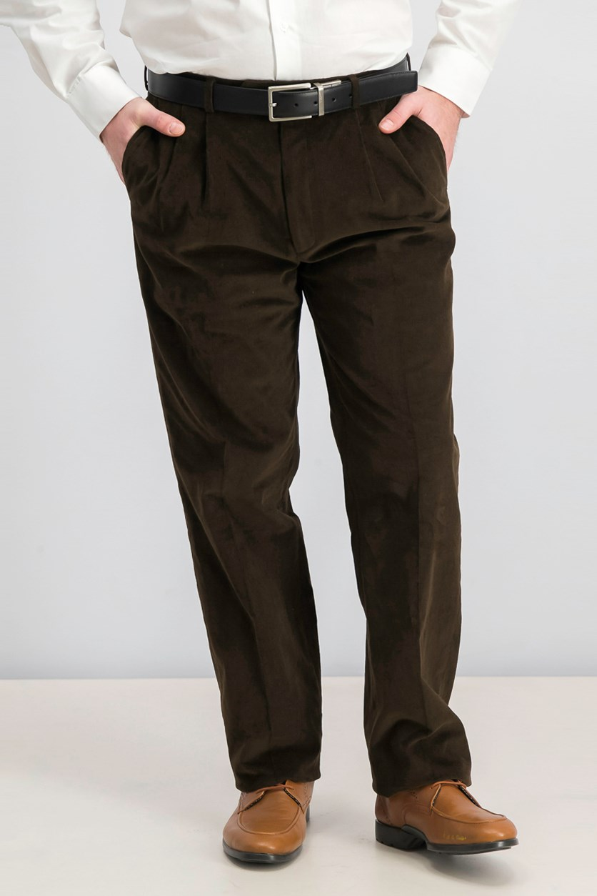 Mens Pleated Casual Corduroy Pants, Chocolate Brown