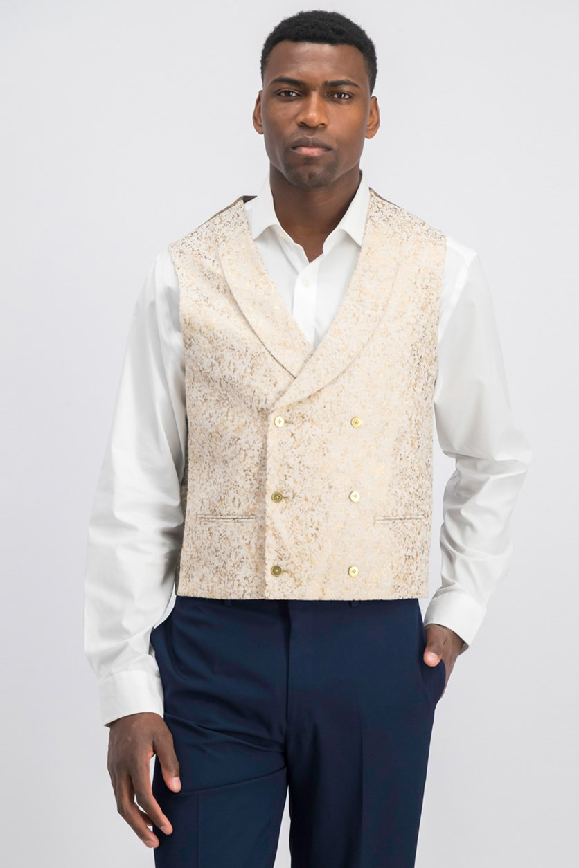 Men's Slim-Fit Gold Metallic Vest, Gold/Cream