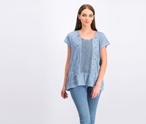 Style & Co Embroidered Tiered Top, Blue Fog