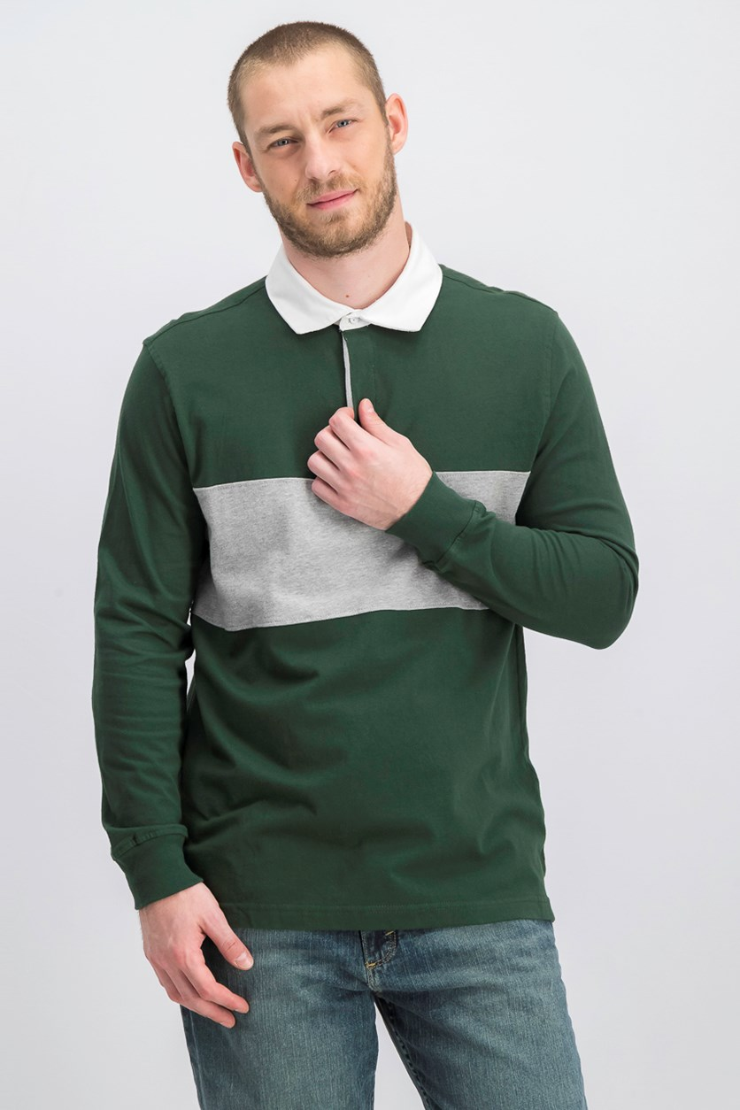 Men's Colorblocked Rugby Polo Shirt, Deep Woods