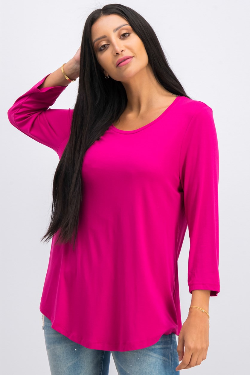 Women's Three Quarter Sleeve Top, Berry Riche