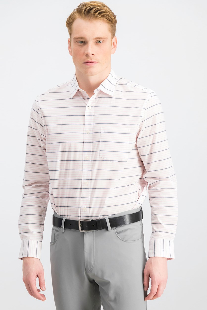 Men's Horizontal Stripe Shirt, Bright White Combo
