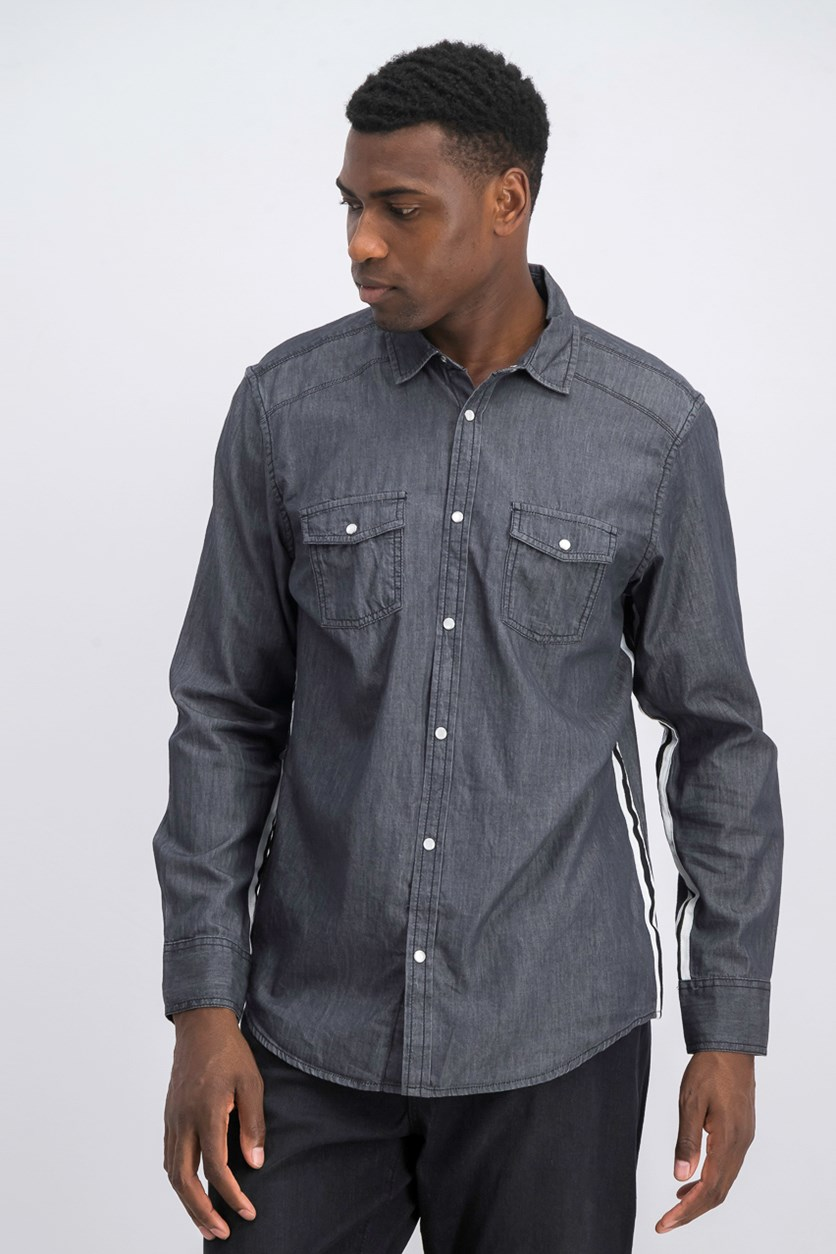 Men's Side Stripe Dark Chambray Shirt, Black Wash