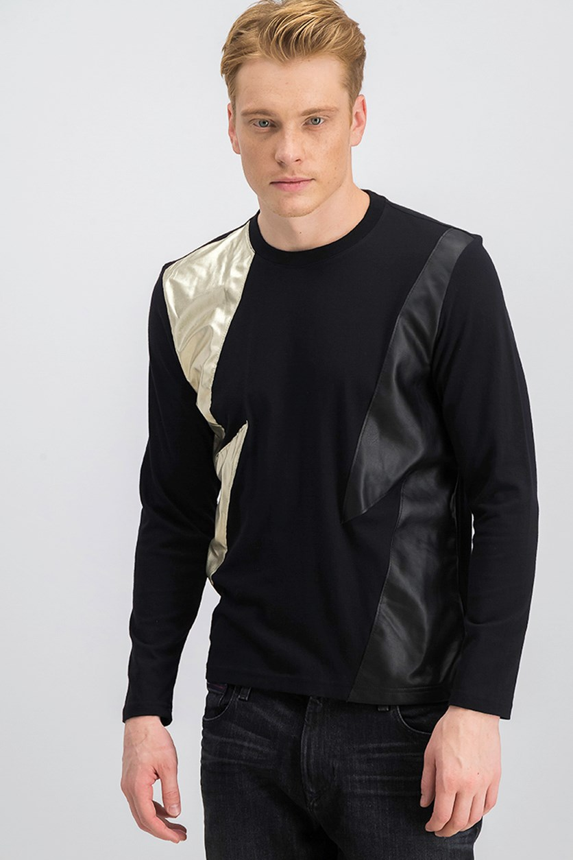 Mens Long-Sleeve Lightning Top, Deep Black