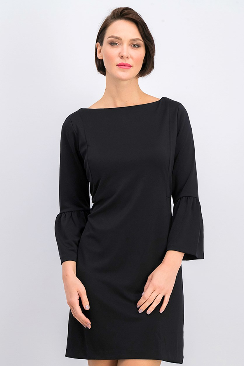 Petite Bell-Sleeve Shift Dress, Black