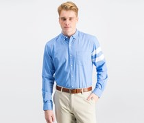 Men's Striped-Sleeve Oxford Shirt, Palace Blue