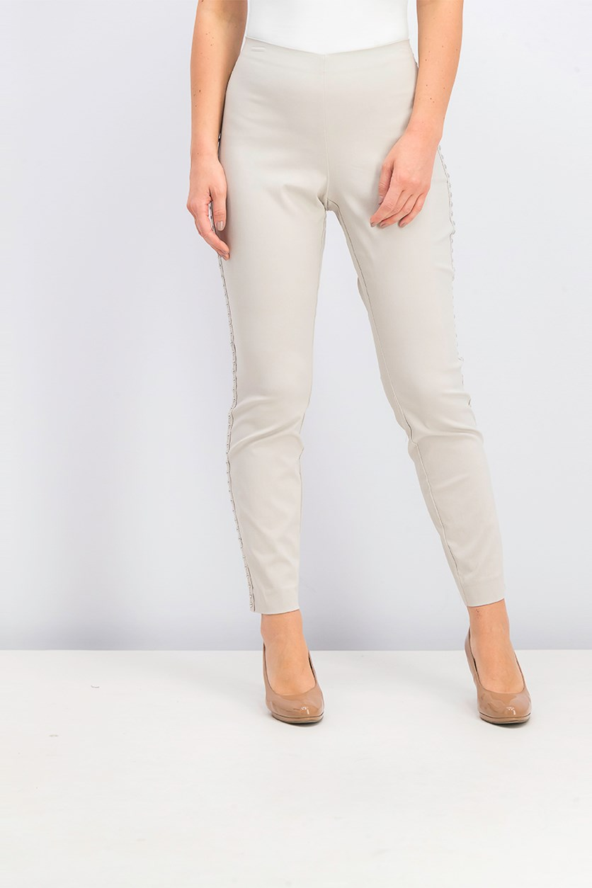 I.n.c. Curvy-Fit Studded Pull-on Skinny Pants, Toad Beige