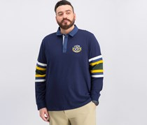 Club Room Men's Rugby Shirt with Chambray Collar, Navy Blue