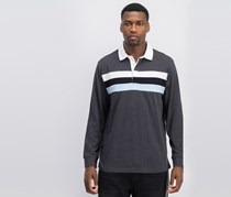 Club Room Long Sleeve Rugby Polo Striped, Gray