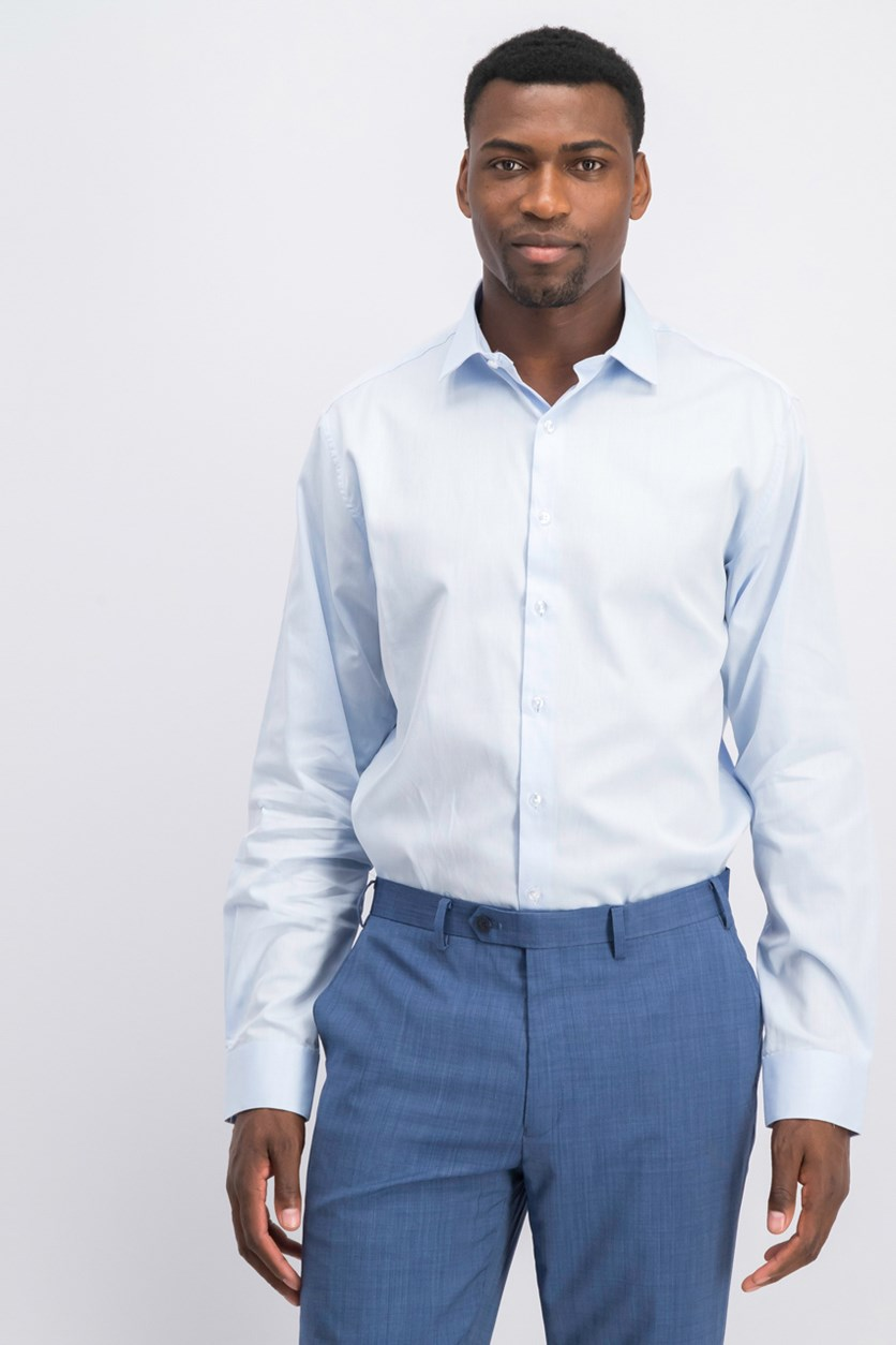 Men's Regular Fit Stretch Dress Shirt, Light Blue