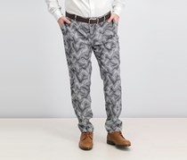 Men's Slim-Fit Camo Jacquard Pants, Black Combo