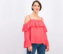 Inc Women's Bell Sleeve Cold Shoulder Top, Coral