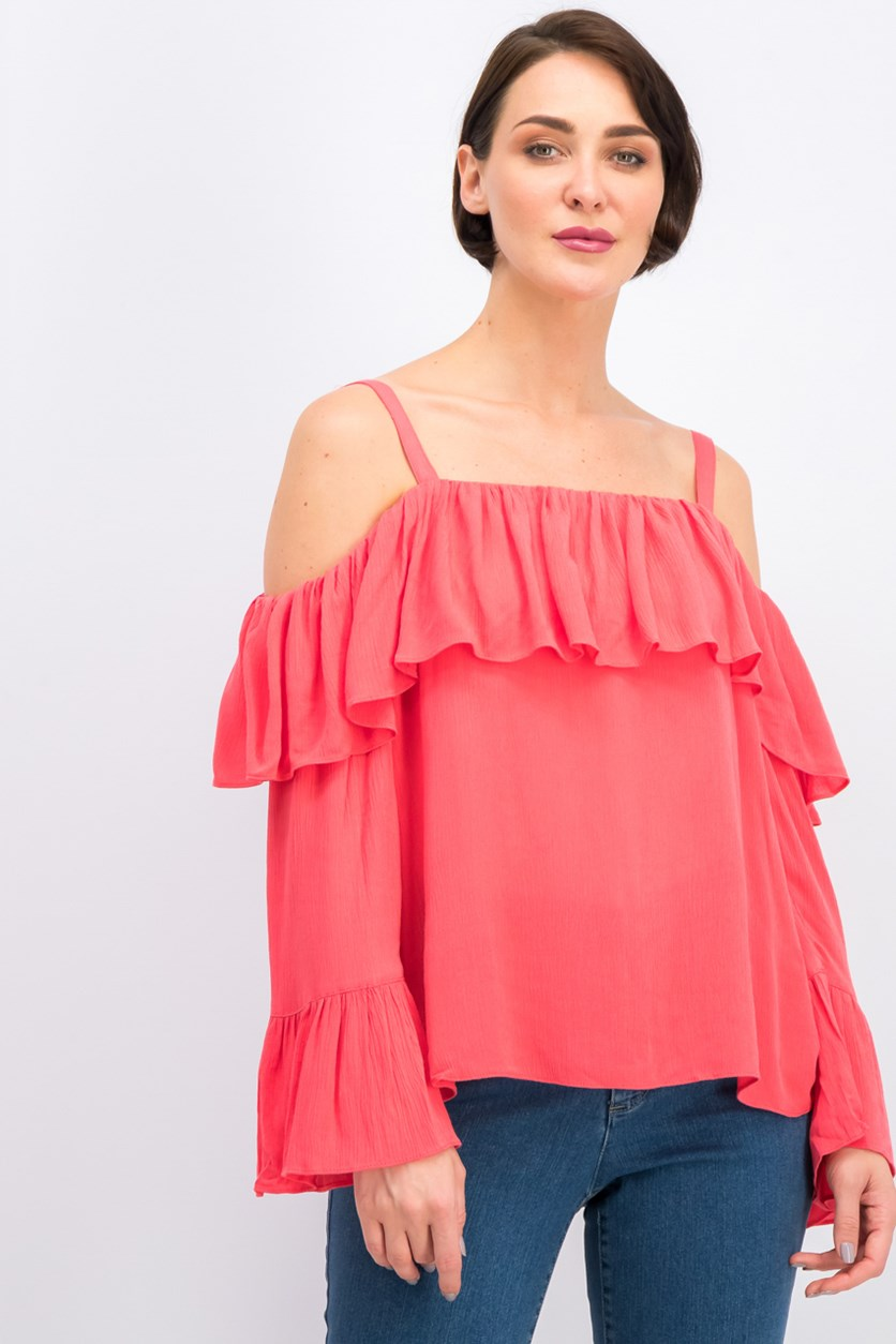 Women's Bell Sleeve Cold Shoulder Top, Coral