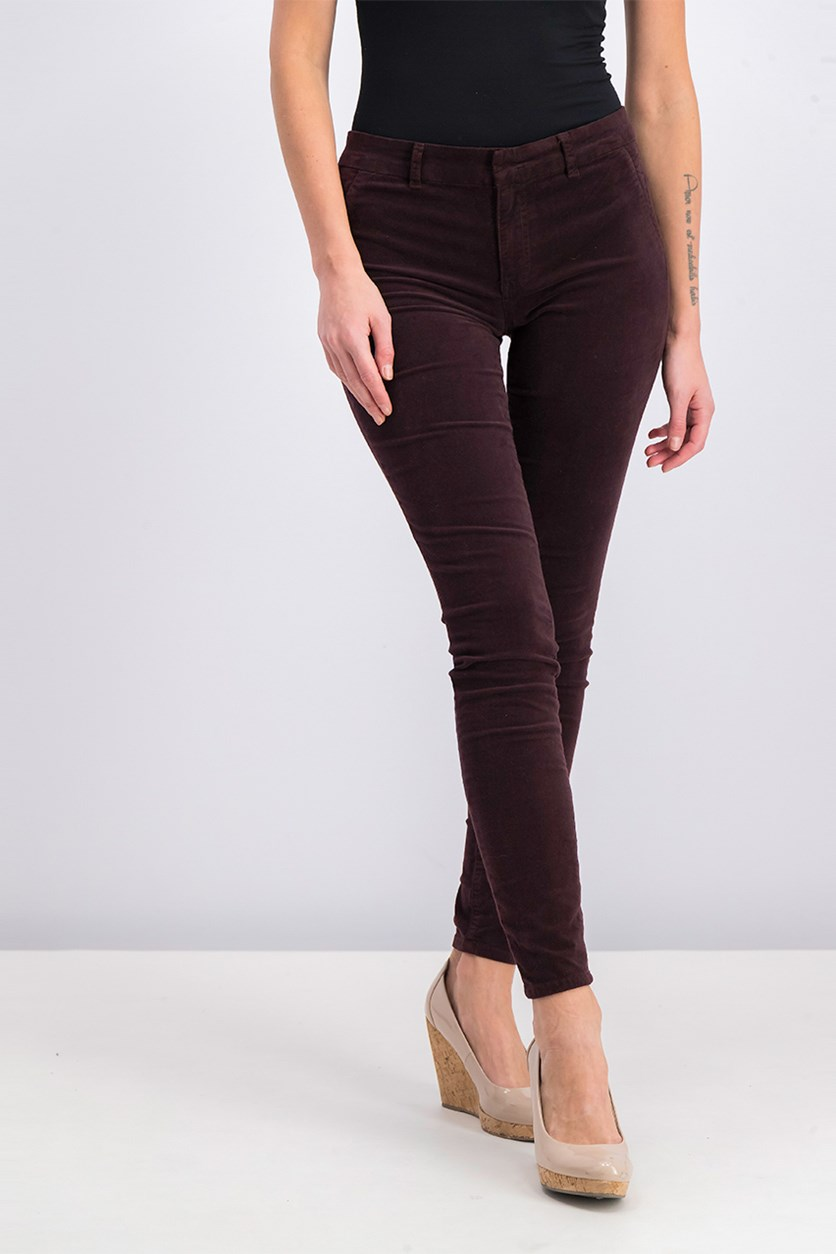 Women's Skinny Trouser Pants, Deep Plum