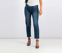 Silver Jeans Co. Side-Striped Cropped Jeans, Indigo