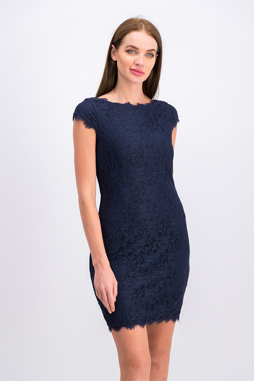 Women Lace Bodycon Dress, Navy
