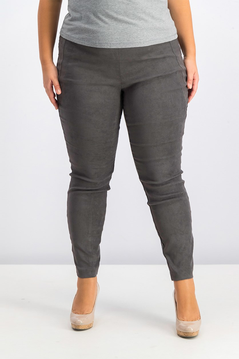 Women's Faux-Suede Pull-On Pants, Dark Charcoal