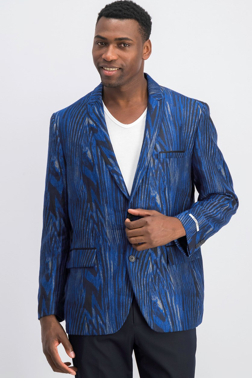 Mens Jacquard Two Button Blazer Jacket, Navy Combo