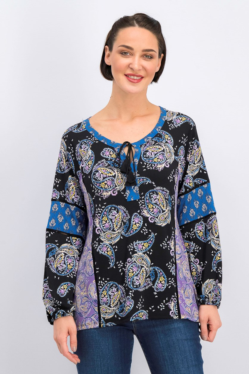 Women's Printed Split-Neck Top, Black Combo