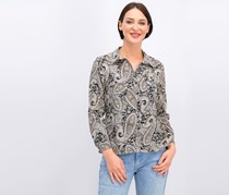 Ny Collection Women's Petite Printed Utility Shirt, Grey/Combo