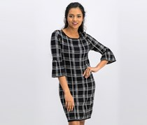 Ny Collection Petite Bell-Sleeve Shift Dress, Black/White