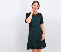 Women's Polka Dot Dress, Green/Black