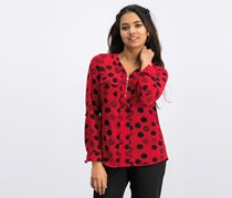 Ny Collection Petite Dot-Print Zippered-Neck Top, Red