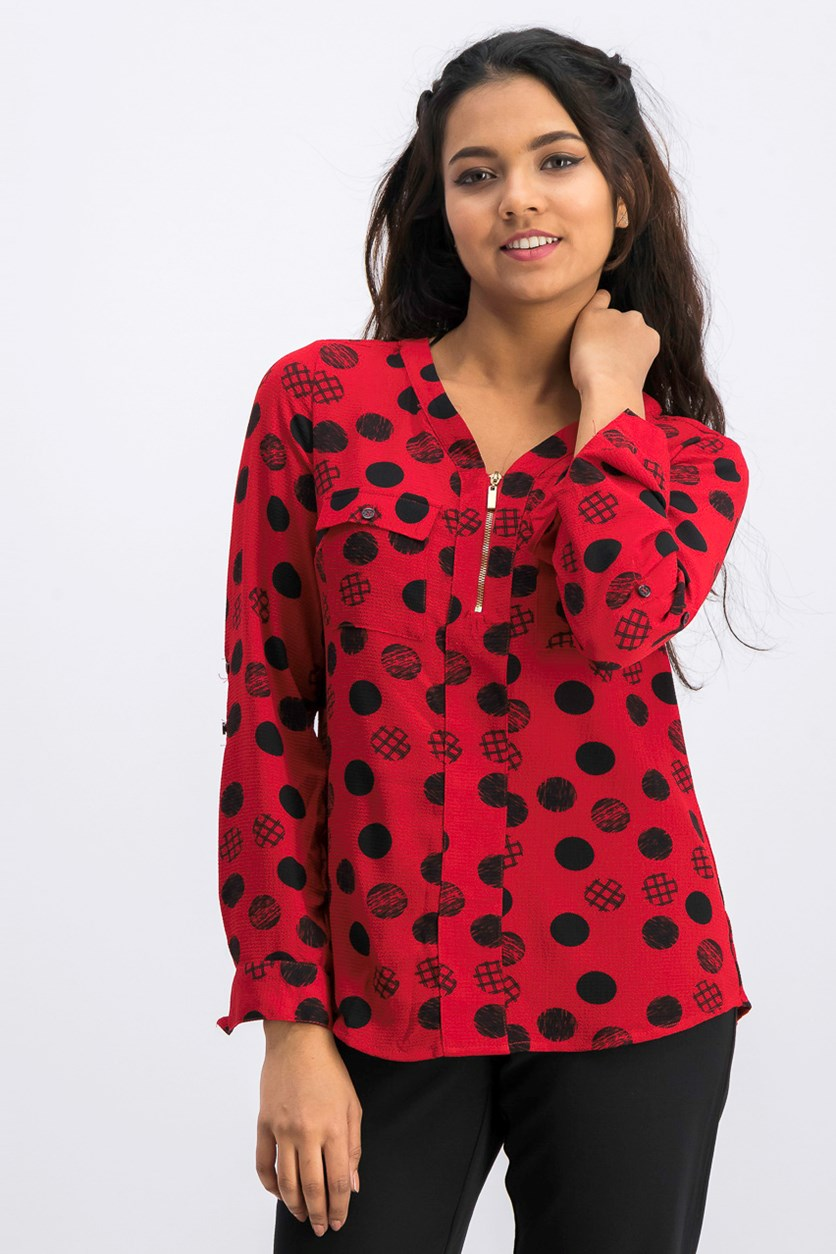 Petite Dot-Print Zippered-Neck Top, Red