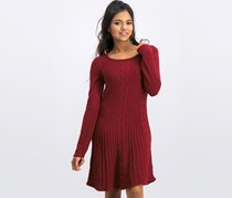 Ny Collection Petite V-Neck Ribbed Sweater Dress, Maroon
