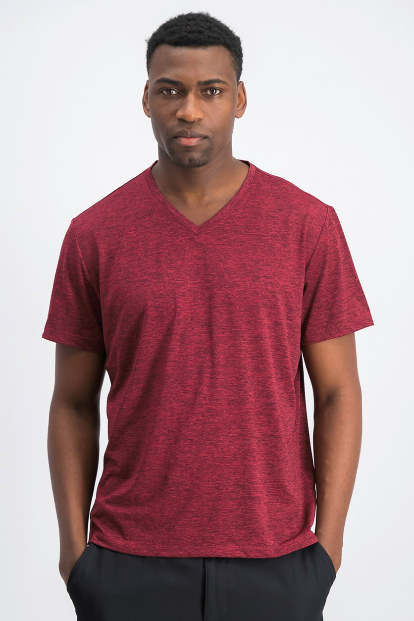 Men's Space Dye V-Neck T-Shirt, Clay Red Combo